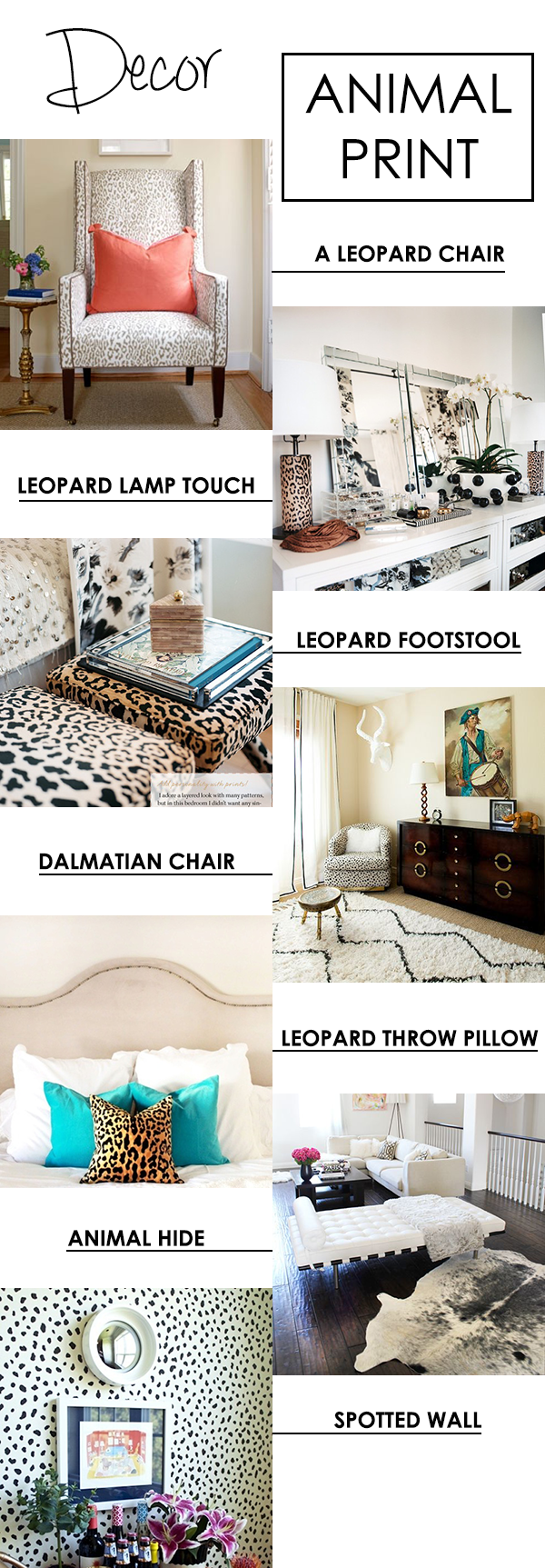 HOME DECOR INSPIRATION / ANIMAL PRINT