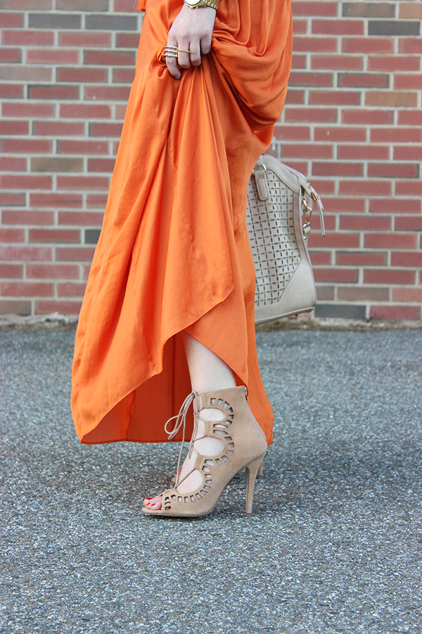 Maxi Skirt Lace Up Heels