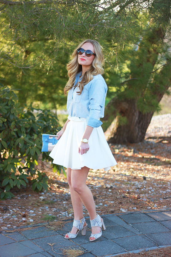 chambray and white skirt