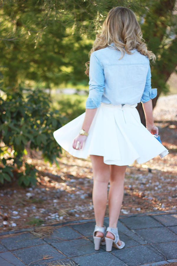 flowy white skirt twirl