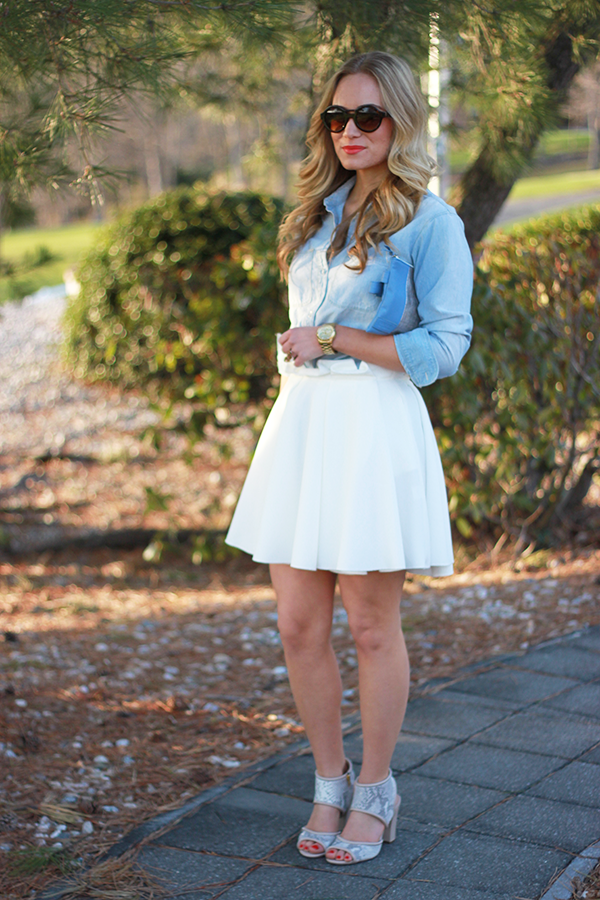 white and chambray