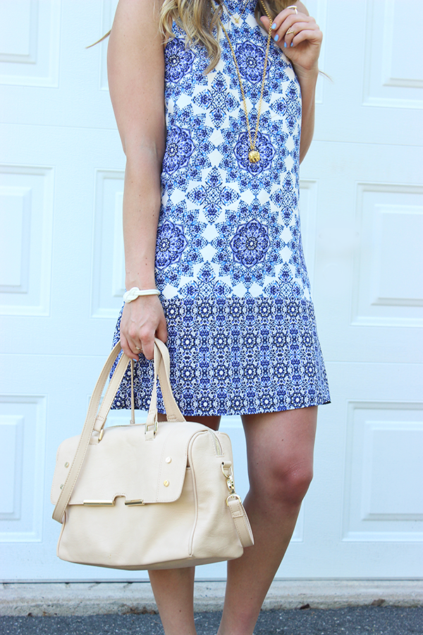 blue dress _ nude satchel