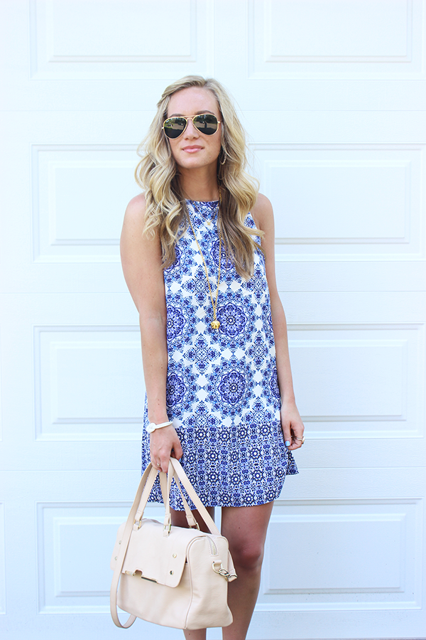 printed shift dress blue