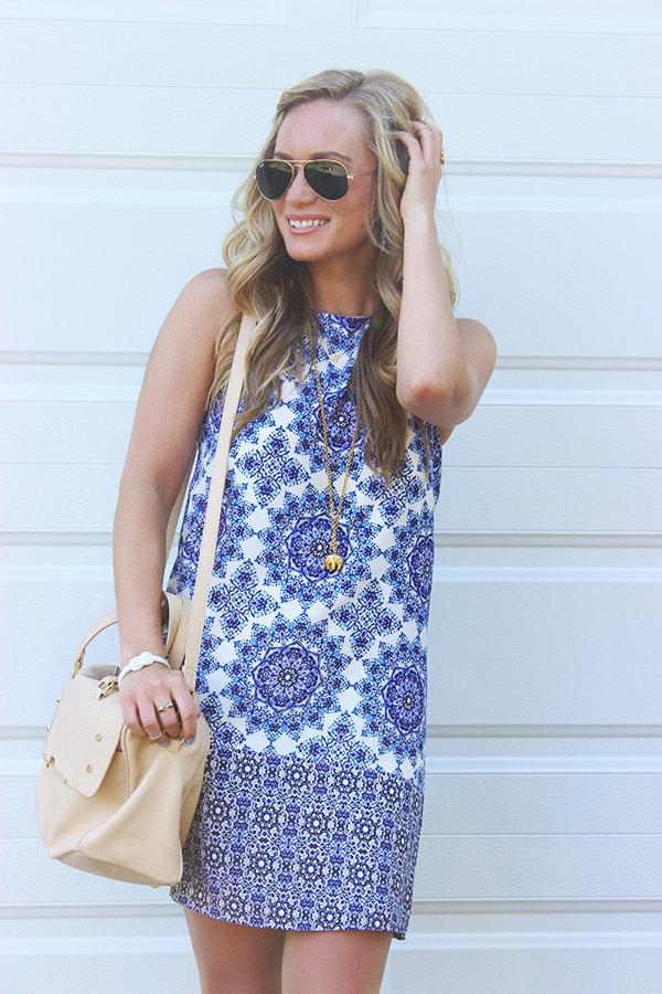 printed shift dress