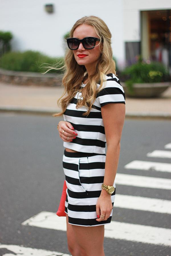 Black White Striped Set