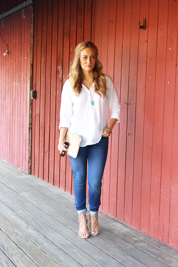 Loose White Top with Denim