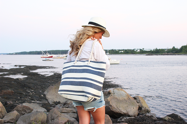 Blue + White Striped Tote
