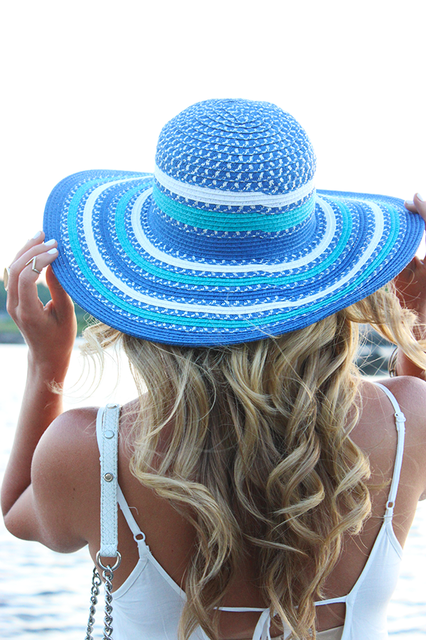 Blue White Striped Floppy Hat