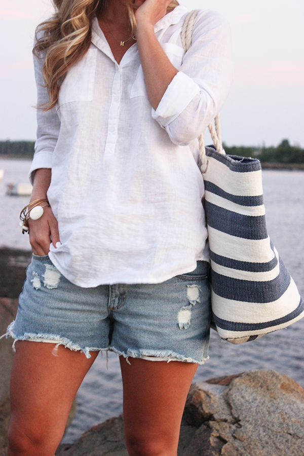 Loose White Shirt with Cutoffs