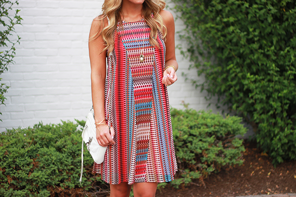 Printed Red Shift Dress