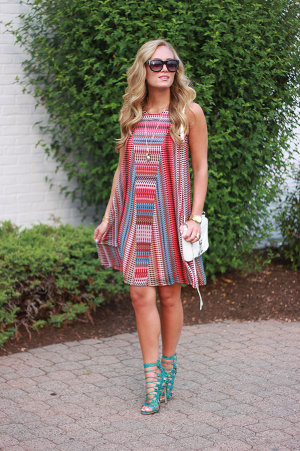 Red Printed Shift Dress