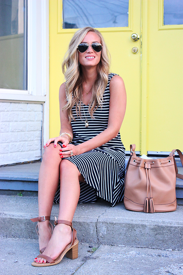 Stripe Dress Neutral Accessories