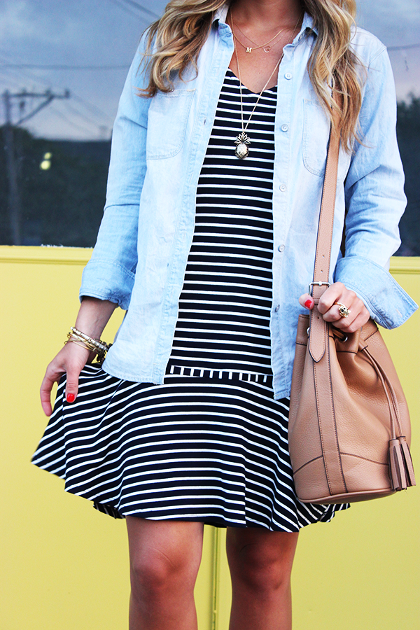 Stripe Dress with Chambray Top