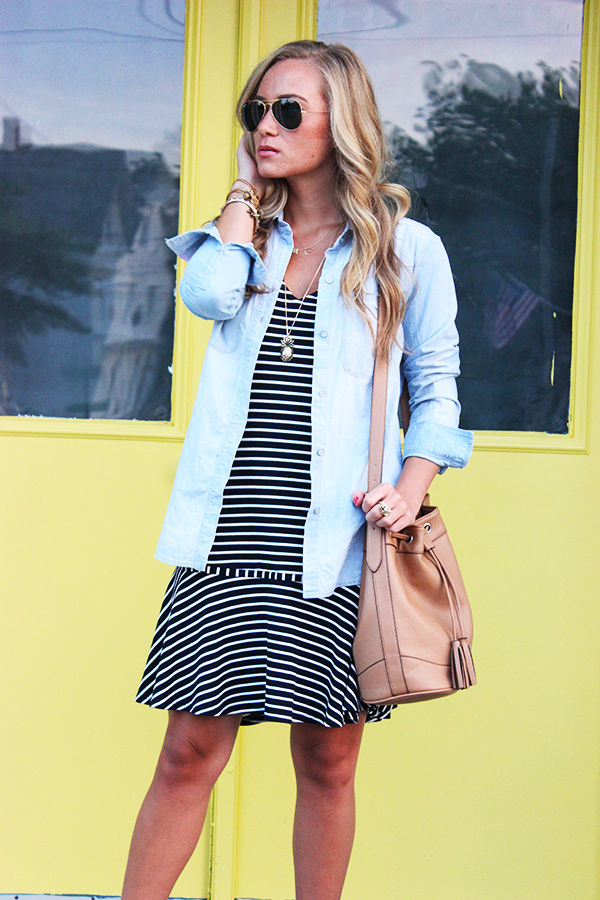 Striped Dress with Chambray