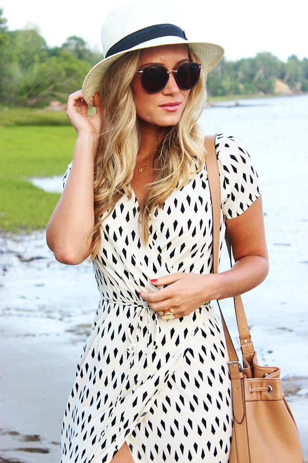 White Black Geometric Dress