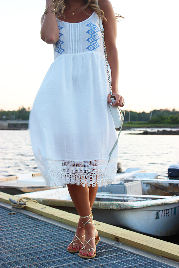 White Dress with Gold Sandals