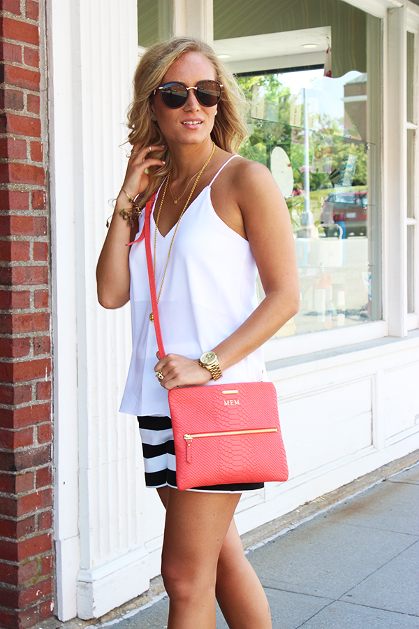 White Top with Coral Bag