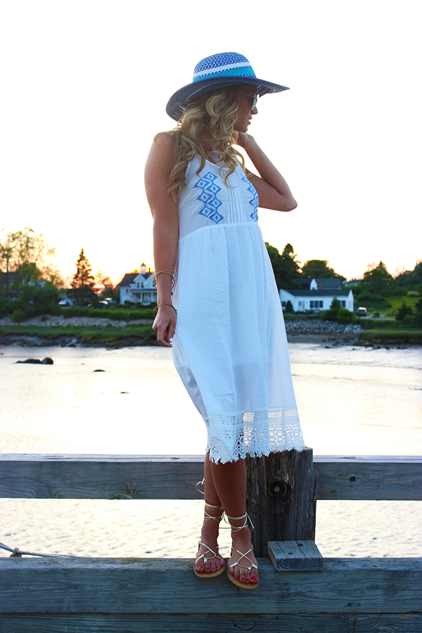 White and Blue Midi Dress