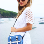 White with Blue Crossbody