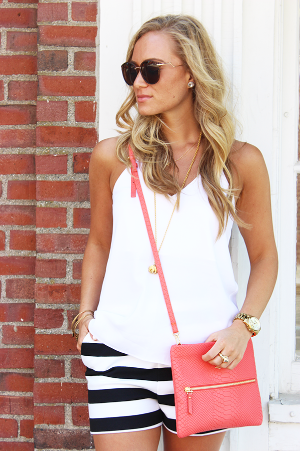 White with Coral