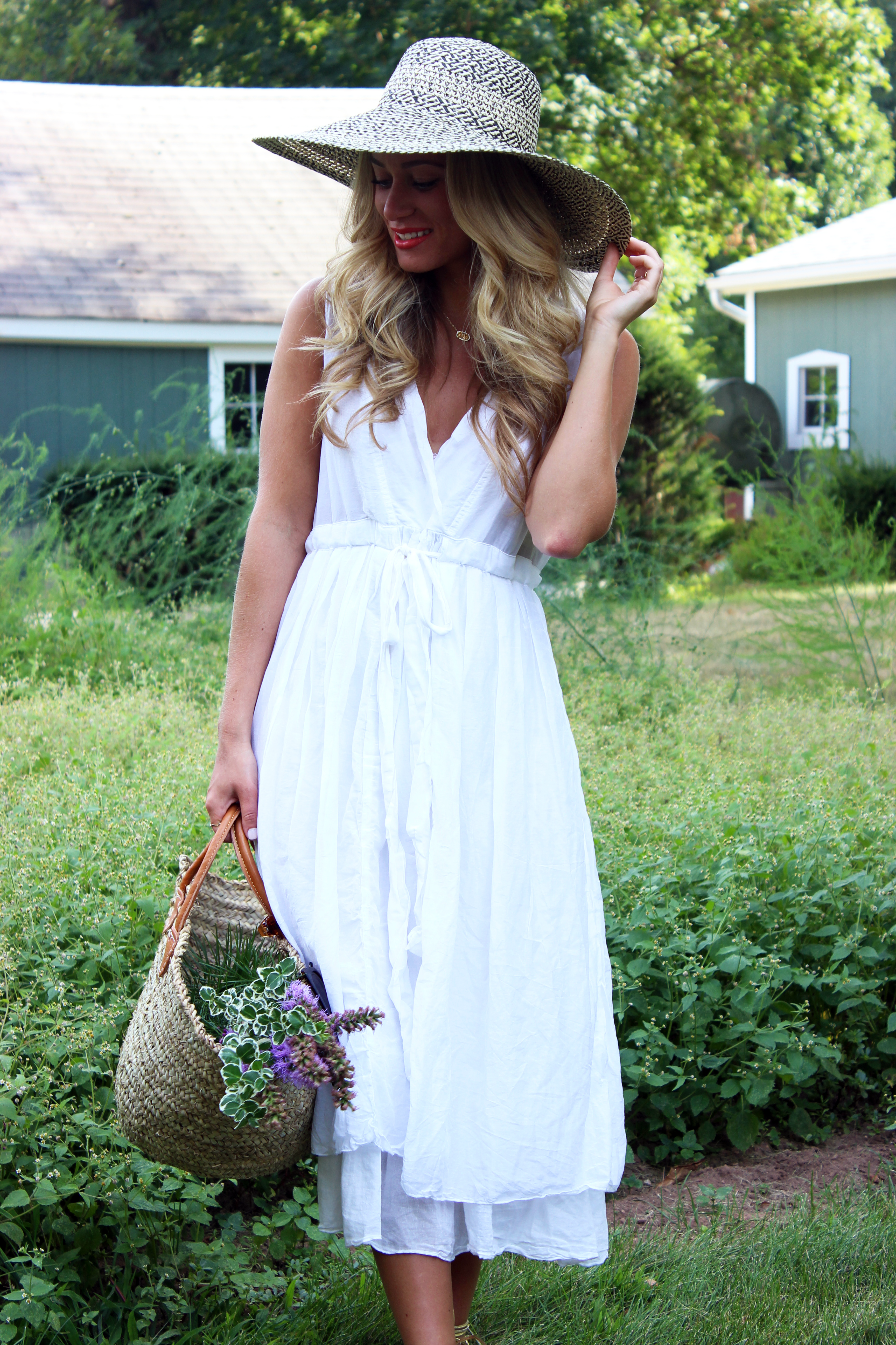 e282cf057e608c Big Floppy Hat with White Dress - Style Cusp