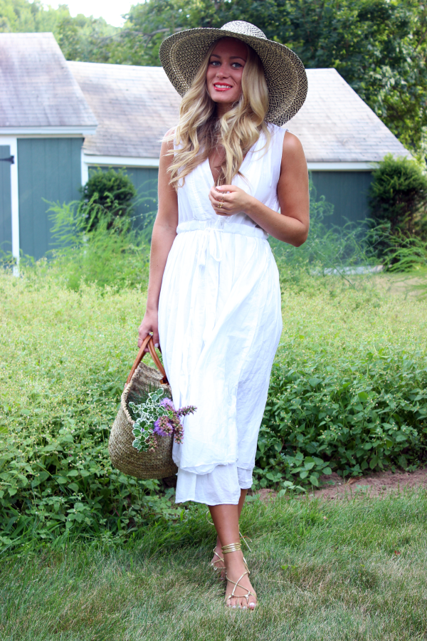 Floppy Hat and White Dress