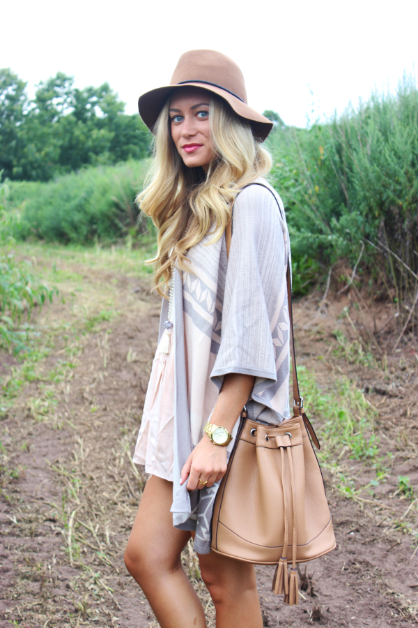Oversized Poncho + Bucket Bag