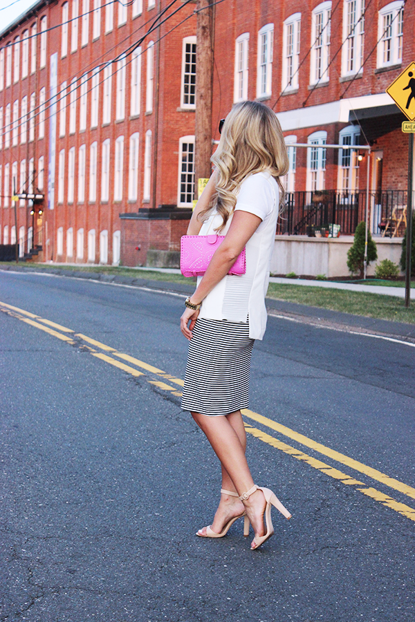 Striped Skirt with White