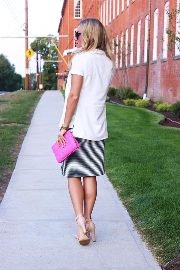 White Black Striped Skirt