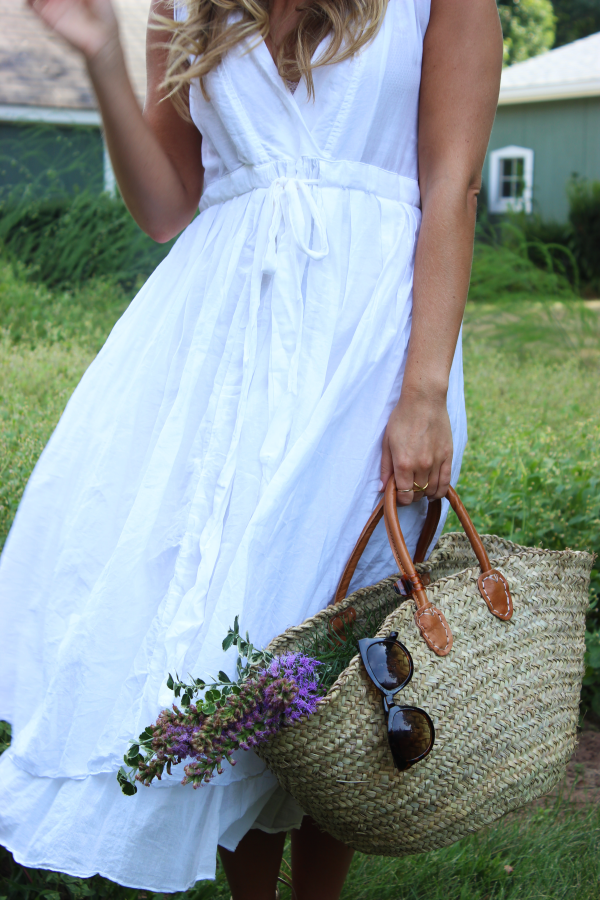White Dress with Straw Tote Basket
