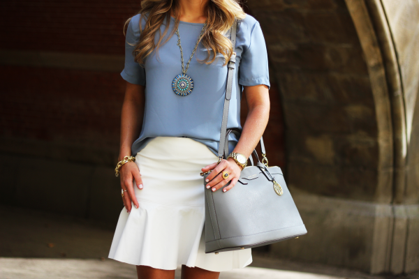 Blue Pendant Necklace and Gray Satchel