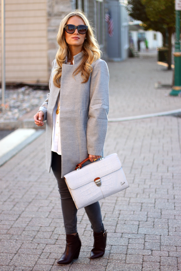 Gray Coat and Bag