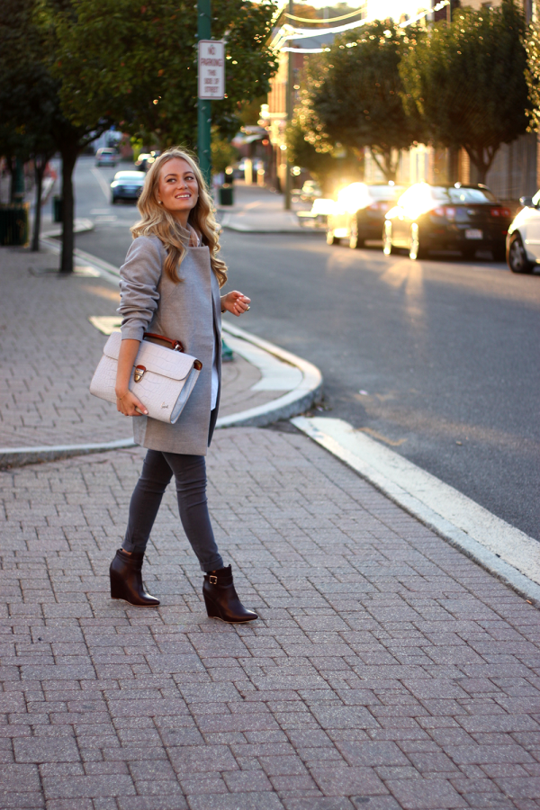 Gray Coat and Gray Clutch