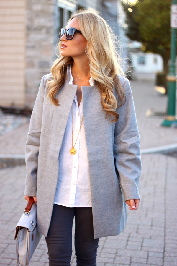 Gray Coat and white Button down