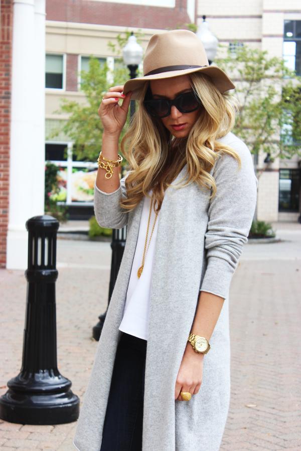Gray Sweater Camel Fedora