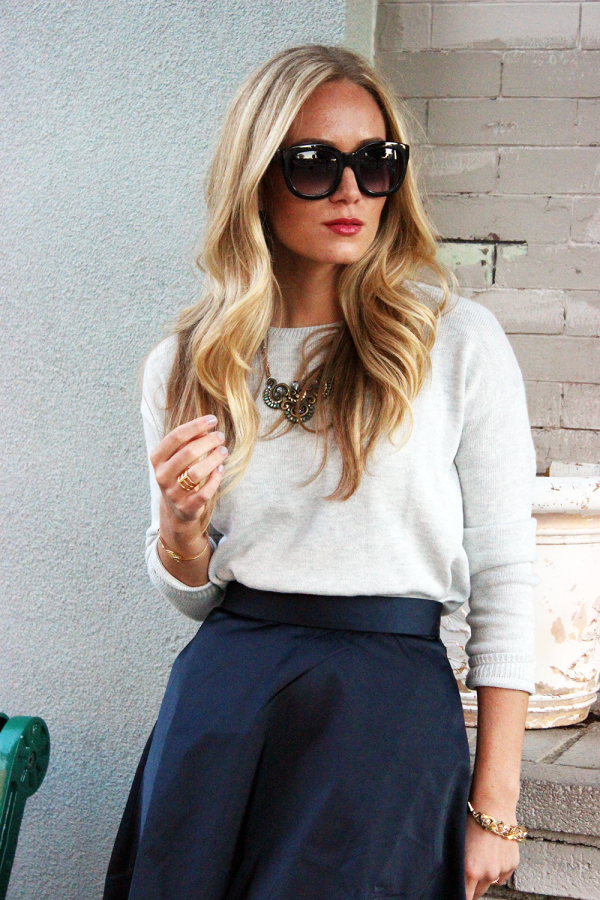 Gray Sweater and Navy
