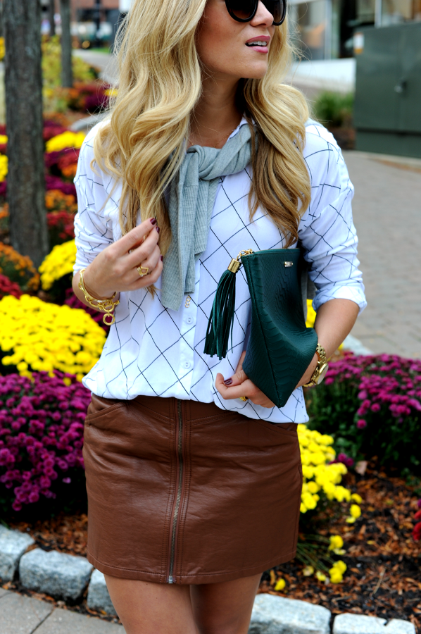Grid Print and Leather Skirt
