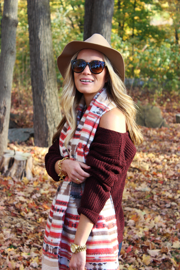 Loose Fall Sweater and Big Scarf