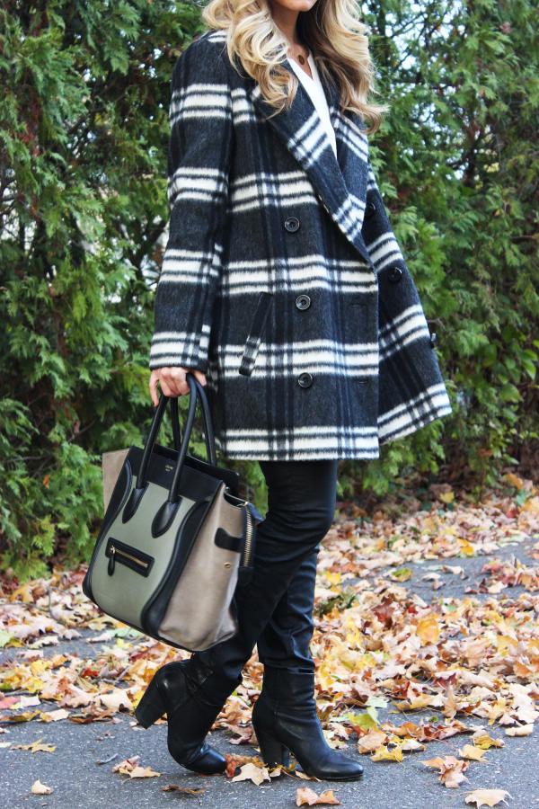 Big Plaid Coat and Celine Bag