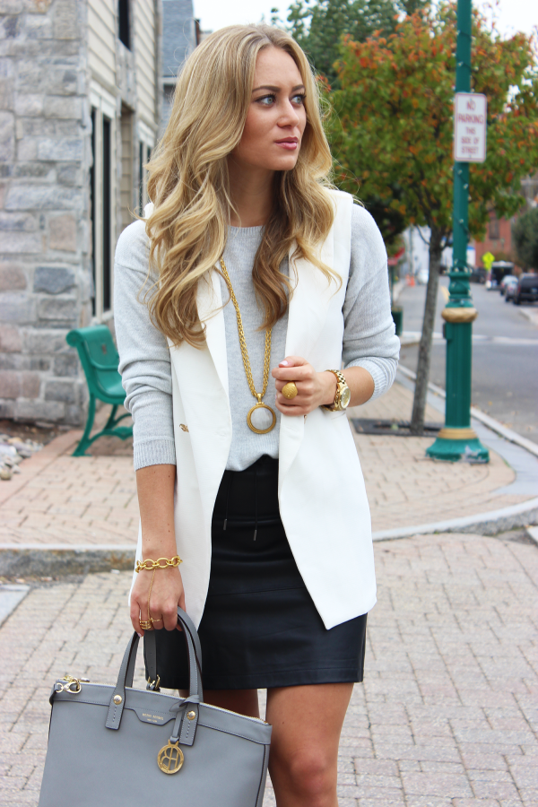 Leather Skirt And Blazer - Dress Ala