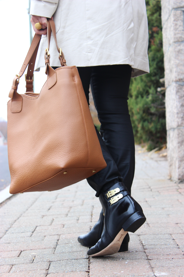 Camel Tote and Black Chelsea Boots