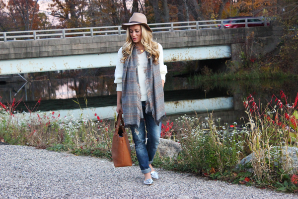 Chunky Sweater and Plaid Scarf