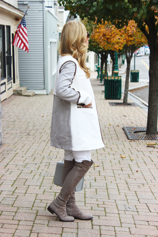 Colorblock Coat and Gray Boots