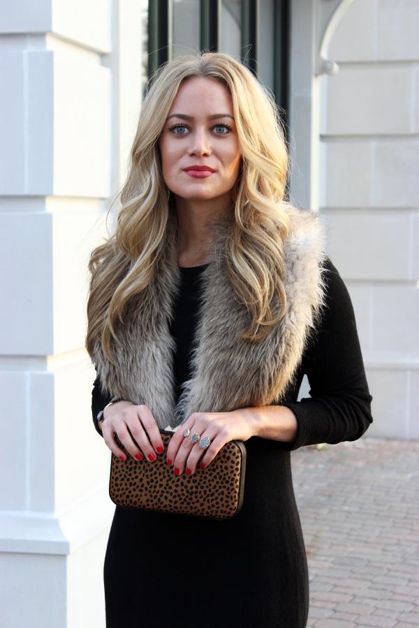 Faux Fur Stole and Leopard Clutch