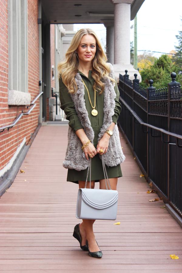 Green Dress Gray Vest