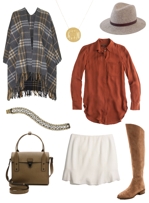 Topshop Poncho Jcrew Silk Top Madewell Skirt Fedora