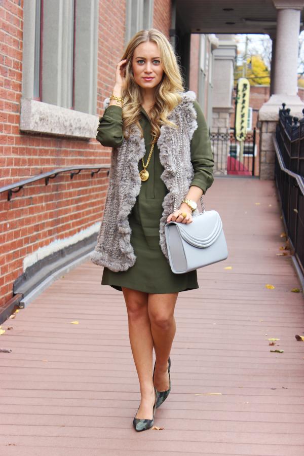 Topshop Green Dress and Fur Vest
