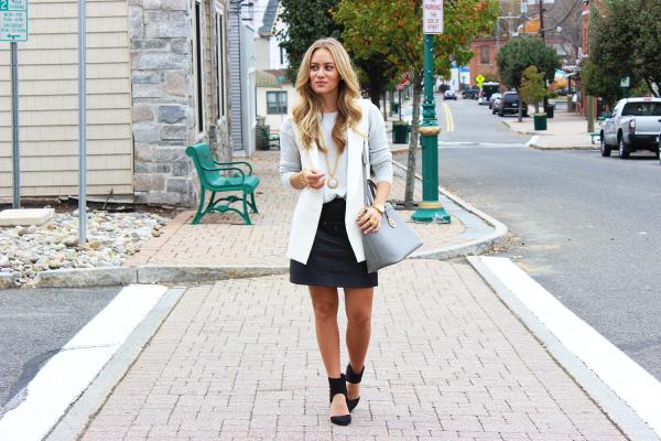 White Vest Leather Skirt