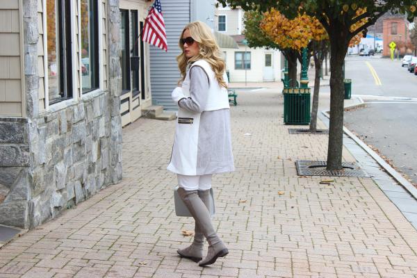 White and Gray Combo Coat
