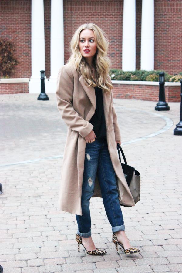 Camel Coat Boyfriend Jeans Leopard Heels